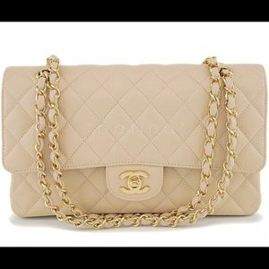 Authentic Chanel Beige Clair Caviar Medium Classic